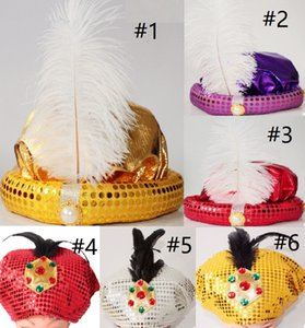 Nuevo lindo Cosplay Aladdin Hat Halloween Masquerade Adult Children Party Hat Show Gold / Red Crown Dumpling Cap Theme Party Cosplay Cap B30