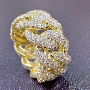 موضة الهيب هوب روك خواتم لون الذهب بلينغ مثلج خارج الكوبية ربط سلسلة مايكرو تمهيد تشيكوسلوفاكيا خاتم كريستال للنساء مجوهرات اكسسوارات