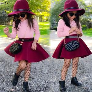 2 Adet Çocuk Giyim Setleri Kızlar Uzun Kollu Tops + Etek katı Sevimli prenses Güz Çocuk Kız Elbise Kıyafet 3 4 5 6 7 8 Yıl J190514