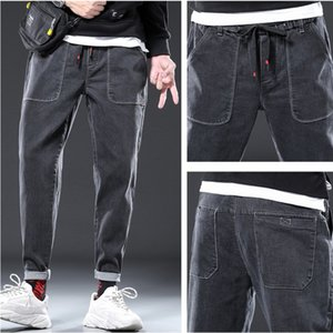 Men Jeans Lace Leisure Trend Slim Fit Feet Harlan Pants Sports Overalls Trousers Male Pants