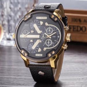 Multi Time Zone Wristwatch Montre luxe Military Clock Leather Strap 53MM Big dial DZ Stainless steel Watch Men's Sport Quartz Watch