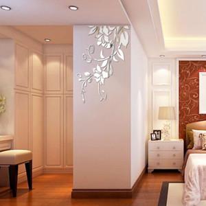 3D Specchio Floral Wall Sticker Art smontabile murale acrilica casa Room Decor