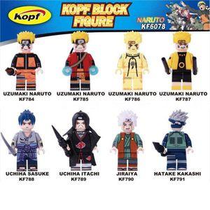 Única venda Blocos Naruto Uzumaki Naruto Bricks Uchiha Sasuke Jiraika Hatake Kakashi Figuras Para Brinquedos Crianças KF6078