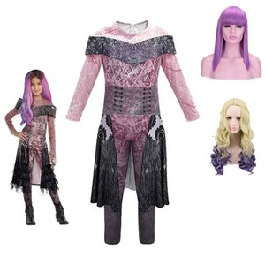 Descendants Mal Fancy Costumes Girls Mal Dress Up Kids Evie Cosplay Outfits Halloween Evil Role Playing Outfits With Wig