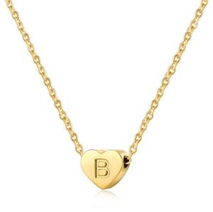 DHL Dainty inicial chapado en oro Collar letras A-Z 26 Collar colgante de la forma del corazón del amor del alfabeto na de las mujeres 38 + 5cm