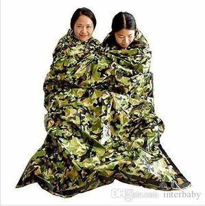 Camuflaje Supervivencia en Emergencias Saco de dormir Mantener caliente impermeable manta de Mylar Emergency First Aid caliente al aire libre camping sacos de dormir TLYP439