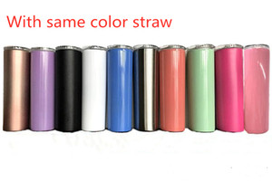 20 oz flaco Tumbler 10 colores taza del viaje de doble pared de acero inoxidable para el vino bebe agua con staw y tapa a prueba de salpicaduras