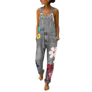 Mulheres Jeans cintura alta Denim macacão sem mangas Macacões Floral Pant longo calças jeans slim Mulher Romper
