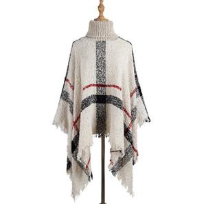 Кисточкой плащ Шали 6 цветов Женщины свитер Высокий воротник Вязаные пуловер Пончо Накидки Сыпучие шарф Платки L-LJJO7205