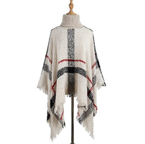 Tassel Manto Xaile 6 cores Mulheres Sweater Colarinho alto malha capuz Poncho Cabo soltos lenço xales L-LJJO7205
