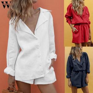 Womail Women tracksuit summer Fashion Casual 2 piece set Cotton Button Temperament Suit Shorts Suits Outfit 2020 J63
