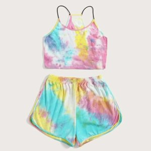 38# Womens Sleeveless Strappy Short Tie-dye Print Cami Belt Top And Pants Suit Two Piece Set Fashion 2 Piece Set Sleeveless