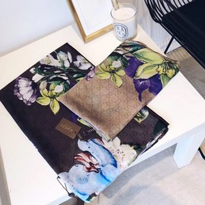 2019 nuova sciarpa di seta delle donne di alta qualità Italia del fiore di marca sciarpe di seta delle sciarpe 180x90cm Pashmina Infinity donne sciarpa scialli del bikini di copertura S99