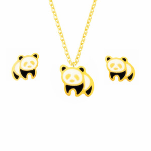 Cute Gold Silver Giant Panda Stud Earrings Necklaces For Women Men Trendy Jewelry Set Stainless Steel Colar Brinco Feminino