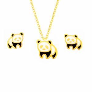 Sevimli Altın Gümüş Dev Panda Saplama Küpe Kolye Kadın Erkek Trendy Takı Seti Paslanmaz Çelik Yakası Brinco Feminino