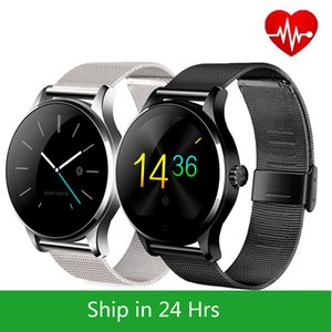 Metal SmartWatch Fitness tracker Heart Rate Monitor Compatible Android IOS Phone Remote Camera Round super slim Waterproof K88H smart watch