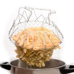 1 unids Plegable Steam Rinse Strain Fry French Chef Basket Magic Basket Mesh Basket Colador Net Kitchen Cooking Tool Envío de la gota