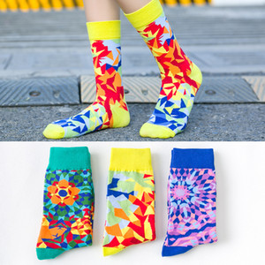 Socks Women Korean Spring and Summer Harajuku Kawaii Cute Socks Color Diamond Center Tube Funny 1903
