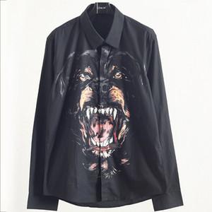 Роскошные мужские дизайнерские рубашки осень мужская собака голова печати рубашка Молодежный квадратный воротник рубашки с длинными рукавами черный Размер M-2XL