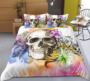 3D Imprimir do crânio do açúcar conjuntos de cama edredon cobrir Bed Set Bohemian Imprimir Preto Roupa de cama Drop Shipping