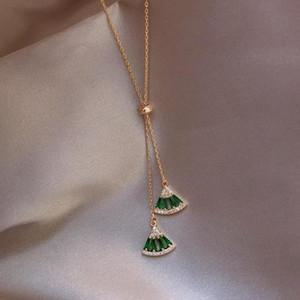 Heißer Verkauf Klassische Grün Weiß Kristall Geometrische Halskette Anhänger Chokers Halskette Für Frauen Erklärung Schmucksachen