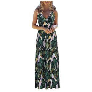 SAGACE Women's Dress 2020 Sexy V-neck Sleeveless Sling Long Boho Dress Women Beach Spaghetti Strap summer clothes for women new