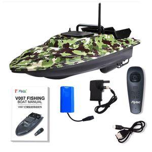 Flytec V007 Intelligent 500m Steuerung Angeln Finder Bait RC Boot Fischerboot 4,8km / h Double Motor mit LED-Suchscheinwerfer für Boote