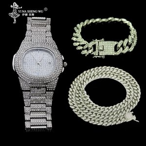 Necklace +Watch+Bracelet Set Hip Hop Miami Curb Cuban Chain Gold Color Full Iced Out Paved Rhinestones CZ Bling Jewelry For Men