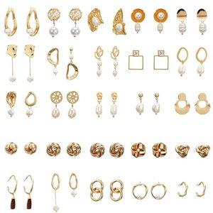 Elegant Matte Metal Gold Square Heart Triangle Geometric Irregular Natural Imitation Pearl Drop Earrings For Women Girl