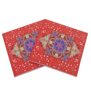 Islamismo Ramadan Tovagliolo di carta Moon Stampato Ramadan Kareem Tovaglioli di carta Islam Ramadan Decorazione Tissue 20pcs Pack 33 * 33cm VT1411