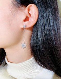 moda Atacado designer de super luxo brilhante brincos de diamantes zircão strass sol flor lustre para mulheres meninas