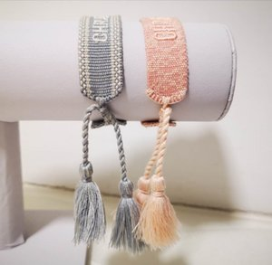 Diseñador dulce de caramelo rosa Cartas de algodón de la pulsera, pulseras de la suerte Frienship para el SIS y seres queridos, pulseras del encanto de lujo