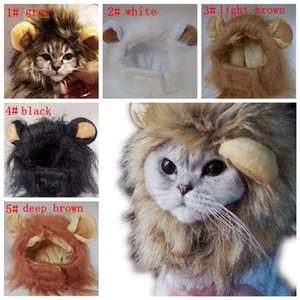 5styles Pet Cat Dog Emulation Lion Hair Mane Ears Dress Up Clothes Funny Costume for Pet Cat Kitten Puppy Wig decor fur hat FFA3174