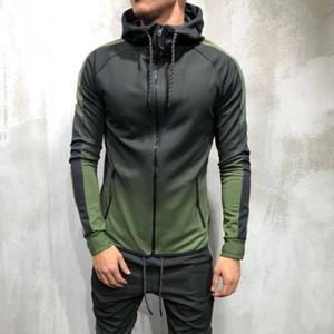 Art und Weisemänner Jacke des Farbverlaufs 3D Frühling Herbst dünner mit Kapuze beiläufiger Mantel Mens Hip Hop Streetwear männliche Eignungoberbekleidung S-3XL SH190906