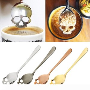 A Sugar Skull Tea Spoon Suck Stainless Coffee Spoons Dessert Spoon Ice Cream Tableware Colher Kitchen Accessories GGA364 100PCS