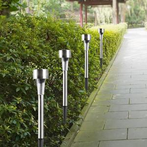 10pcs / lot de la luz del acero inoxidable LED Luz solar del césped al aire libre de la energía solar Plataforma impermeable IP65 del jardín de la lámpara del césped del paisaje
