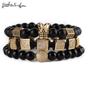 3pcs set Natural Stone Beads Men Bracelet Set Cz Copper Square Braiding Hexagon Crown Ball Charms Bracelets & Bangles Jewelry J190704