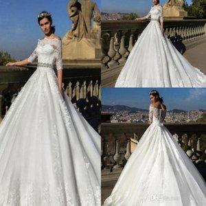 2019 새로운 Vestios De Novia 빈티지 웨딩 드레스 깎아 지른 Bateau Cap Sleeves는 레이스 아플리케를 통해 보며 A-line Bridal Gowns with Belt