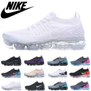 Nike Air VaporMax Flyknit 2.0 2018 2020 남성 신발 여성 실행 신발 2018 2.0 에어 쿠션 블랙 화이트 아웃 도어 트레이너 스포츠 운동 스니커즈 36-45