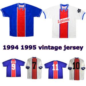 1994 1995 94 95 RAI Ginola GUERIN 홈 멀리 파리 복고풍 축구 유니폼 조지 웨아 빈티지 클래식 오래된 축구 셔츠