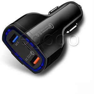 QC 3.0 Быстрое автомобильное зарядное устройство 3.1A Быстрое автомобильное зарядное устройство для телефона со светодиодной подсветкой Dual USB Быстрое зарядное устройство DC 12-24 В для смартфонов без упаковки