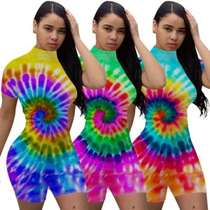 Latest Multicolors Pattern Women Sexy Jumpsuits Stand Collar Short Sleeves Skinny Playsuits with Zipper Back Real Picture Summer 2020