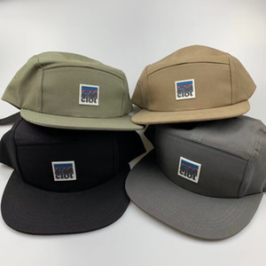 Camp Hat 5 Panneau de chapeaux de soleil court plat Brim Bump Cap extérieur Casquette Snapback coton Hip Hop réglable Hommes Femmes d'été visières Trucker