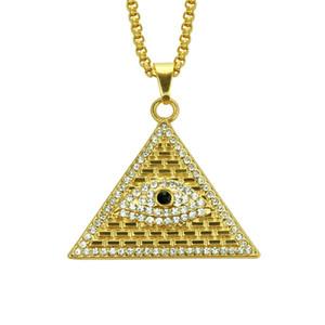 Pirámide egipcia de oro collares colgantes hombres mujeres helado cristal Illuminati mal de ojo de Horus cadenas joyas regalos