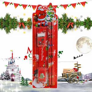 Feliz Navidad linda Conjunto de escritorio 5 en 1 Lápices regla sacapuntas borrador de Santa Claus regalos para el cabrito Oficina de útiles escolares