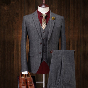 Mens Two Button Wool Tweed Suit Jacket Vest Pant 3 PCS Dark Gray Custom Made Formal Suits Wedding Tuxedos Business Men