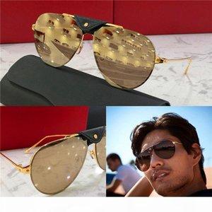 New Fashion designer Occhiali da sole 0196 Retro pilot struttura in metallo con Pelle retro avant-garde semplice pop stile di alta qualità all'ingrosso occhiali