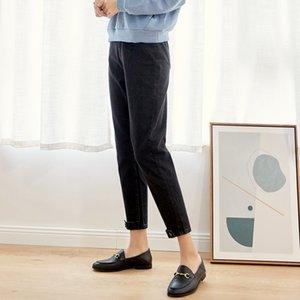 LEIJIJEANS New Arrival Spring harem casua loosel women jeans Mid-waist black retro loose plus size jeans for women 9003