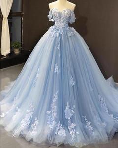 Nueva imagen real de la princesa boda vestidos de quinceañera una línea del hombro de encaje apliques 3D Sweet 16 vestidos de tren de barrido sin espalda Vestidos de novia