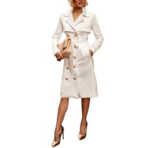 Winter Womens Trench Coat Solid Color Printed Lapel Neck Double Breasted Ladies Coats Fashion Female Clothes